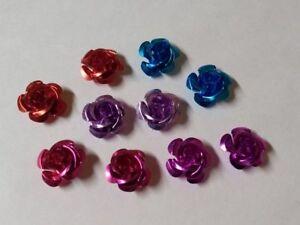 15mm Aluminum Rose Flower Beads 24pcs 6 Colors or Mix FLAT SHIP