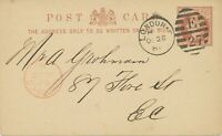 "GB 1881 QV 1/2 d brown superb thin postcard Duplex-cancel ""LONDON-E / E / 27"""