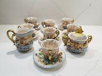 SGK China Demitasse Creamer, Sugar, 7 Cups and Saucers Set Cherub Occupied Japan