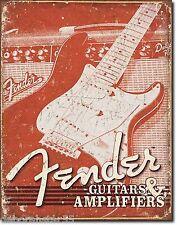 Large Fender Guitar Amplifier Vintage Weathered Metal Tin Sign Poster New 1860