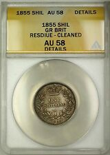 1855 Great Britain 1S Shilling Silver Coin ANACS AU-58 Details Cleaned Residue