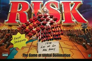 Risk 1998 Red Army lot of 60 Infantry Cavalry Artillery Game Replacement Pieces