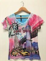 True Rock Junior Women T-Shirt Statue Of Liberty New York V-Neck Size S