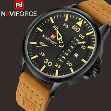 NAVIFORCE fashion sports quartz men Genuine Leather wrist watch