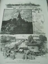 Cambodia Palace of the KING in Pnom Penh Chapelle Buddhist port Engraving 1886
