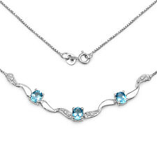 STERLING SILVER BLUE TOPAZ & DIAMOND 17 INCH NECKLACE BIRTHDAY ANNIVERSARY GIFT