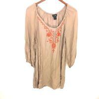 Lane Bryant Brown Orange Embroidered Peasant Top Blouse Women's Plus Sz 14/16