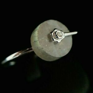 Ladies 925 Sterling Silver Fire Labradorite Crystal Disc Wheel Band Ring Size S