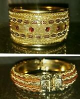 India Kundan Bollywood Gold Tone Hinged Bangle Bracelets Set of 2