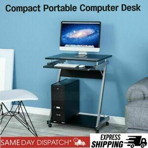 Small Corner Computer Desk PC Table Bedroom Home Office Study Furniture Castors