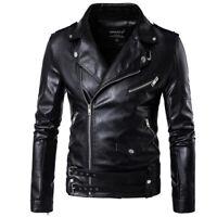 Mens PU Leather Jacket Slim Fit Biker Motorcycle Coat Outwear Punk Black Outwear