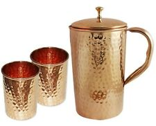 Pure Hammered Copper Pitcher Jug With Tumbler Glass Storage Ayurveda