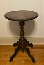 Antique Vintage Round Pedestal Tea Occasional Side Table Plant Stand - 29.5""