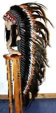 Indianer MEGA Federhaube XXL Kopfschmuck SCHWARZ-BRAUN-WEISSE Federn ca.130 cm.