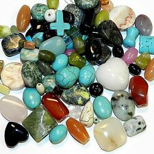 NGL385 Assorted Shapes Colors Sizes Mixed Gemstone Beads 100-grams (100 Beads)