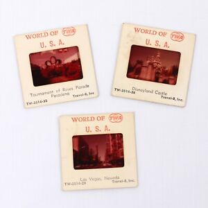 Vintage TWA 'World of TWA' USA Travel Slides (Las Vegas, Disneyland & Pasadena)