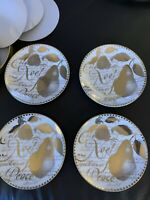 Restoration Hardware Holiday Plates Set Of 4 Celebrate Noel Peace Gold Trim