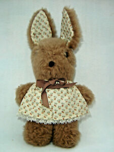 Small Brown Bunny Rabbit Plush Stuffed Animal Toy Floral Dress and Ears Easter
