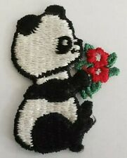Vintage embroidered patch Cute panda bear with red flowers