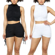 Para mujeres Crop Top & Shorts Casual con Cintura Alta Conjunto De Tela Loungewear Elastizar