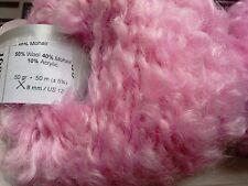 2 x 50g Textured Mohair/Wool Boucle Yarn, Pink. Knit/Crochet/Weave