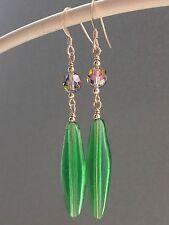 Vintage Green Long Oval Glass & Mercury Vitrail AB Crystals 14ct RG Earrings