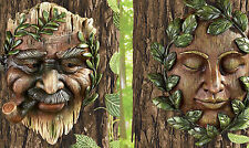 Set of 2 Tree Faces Sculpture Whimsical Garden Yard Decor Vineyard Forest Woods