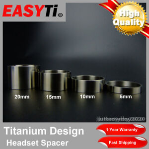 "EasyTi 4pcs Titanium Ti Bicycle Headset Spacer 1-1/8"" (5mm - 10mm - 15mm - 20mm)"