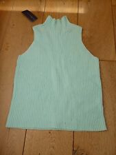 RALPH LAUREN MINT SLEEVELESS RIBBED TURTLENECK TANK TOP JUMPER TOP L 12 14 YEARS