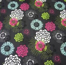 Stoff Baumwolle Blumen Blüten schwarz pink grün eisblau opulent neu Frankreich