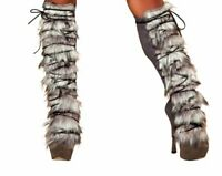 Fur/Suede Leg Warmer with Lace-up - LW4428-AS-O/S - Grey