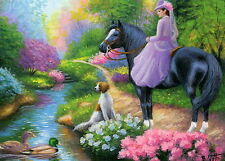 Victorian lady horse dog ducks stream spring landscape OE aceo print art