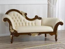 Dormeuse Joana stile Barocco Inglese divano chaise longue noce e foglia oro ecop