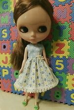 Blythe Doll Outfit Flowers Print Blue Dress