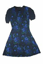 MIU MIU ITALY SIZE 40 SMALL BLACK BLUE FLOWER LUXURY DESIGNER DRESS