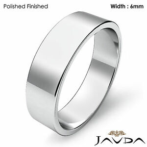 Platinum Plain Flat Pipe Cut Wedding Band Men Solid Ring 6mm 10.4gm 11-11.75