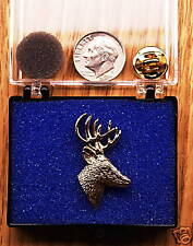 Deer Pin / Tie Tack 24K Gold Plated Side View
