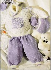 "BABIES~SNOW SET~SWEATER~PANTS~MITTS~HELMET~HAT~KNITTING PATTERN~SIZE 16-22""(T87)"