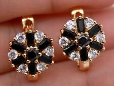18K Gold Filled - Clear Zircon  Black Onyx Round Flower Hoop Ball Women Earrings
