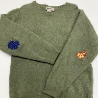 LL Bean Wool Sweater Adult Mens M Green Vintage 90s Custom Embroidery Scotland
