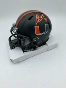 Calais Campbell Signed Miami Hurricanes Black Out Speed Mini Helmet COA Holo