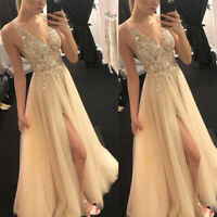 Women V Neck Ball Gown Prom Evening Party Cocktail Wedding Bridesmaid Long Dress