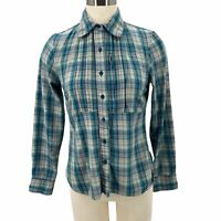 The North Face Flannel Shirt Button Up Teal Pink Cool Vision Womens Size Small