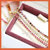 18K GOLD GF ruby amethyst GEM CRYSTAL DIAMOND LADY SOLID TENNIS BRACELET BANGLE