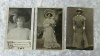 Set Of 3 Marie Studholme Edwardian Actress Photographic Postcards Postally Used