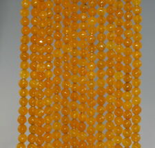"""4MM  AGATE GEMSTONE HONEY YELLOW FACETED ROUND LOOSE BEADS 15"""""""