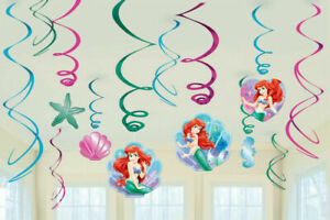 The Little Mermaid Ariel Hanging Swirl Decorations 12pk - Party Supplies