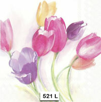 (521) TWO Individual Paper Luncheon Decoupage Napkins TULIPS WATERCOLOR FLOWERS