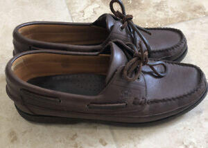 MEPHISTO Hurrikan Spinnaker Leather Loafers Size 11 Boat Deck Shoes Brown