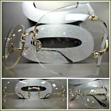 a5e16dc4ce0 HUGE Oversized Vintage 70s Retro Style Clear Lens Eye Glasses Rimless Gold  Frame